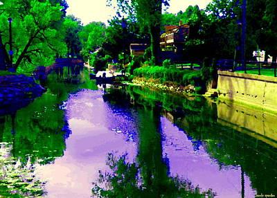 Summer Along The Canal Painting - Lachine Canal Mirror Lake From The Bridge Lachine Museum Landscape Scenes Carole Spandau Art by Carole Spandau