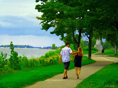 Summer Along The Canal Painting - Lachine Canal Summer Scene Romantic Stroll  Bike Path  Montreal South West Landscapes Carole Spandau by Carole Spandau