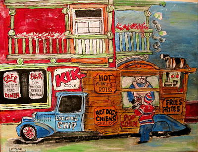 Kik Cola Painting - Lachine Chip Wagon by Michael Litvack