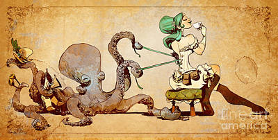 Octopus Digital Art - Lacing Up by Brian Kesinger
