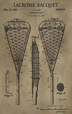 Mixed Media - Lacrosse Racquet Patent by Dan Sproul
