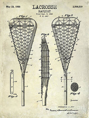 Racquet Photograph - Lacrosse Racquet Patent Drawing by Jon Neidert