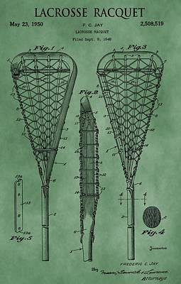 Digital Art - Lacrosse Racquet Patent Green by Dan Sproul