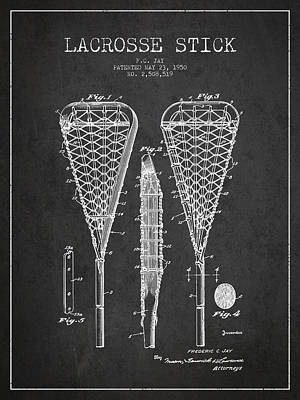 Technical Drawing Digital Art - Lacrosse Stick Patent From 1950- Dark by Aged Pixel