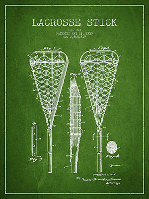 Lacrosse Stick Patent From 1950- Green Art Print by Aged Pixel