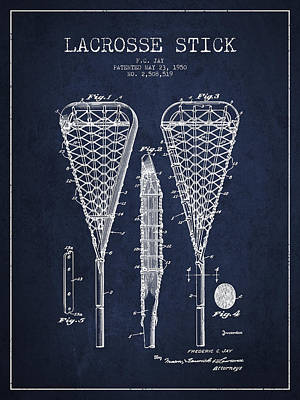 Goalie Drawing - Lacrosse Stick Patent From 1950- Navy Blue by Aged Pixel