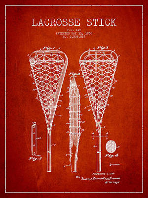 Goalie Drawing - Lacrosse Stick Patent From 1950- Red by Aged Pixel