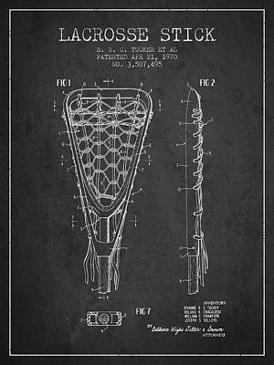 Lacrosse Stick Patent From 1970 - Charcoal Art Print by Aged Pixel