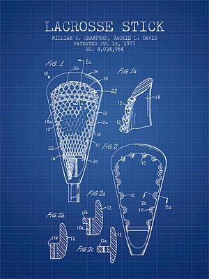 Lacrosse Stick Patent From 1977 -  Blueprint Art Print