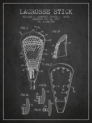Lacrosse Stick Patent From 1977 -  Charcoal Art Print by Aged Pixel