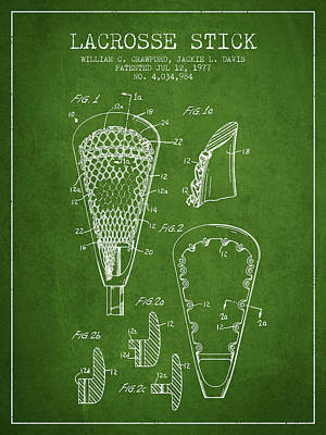 Lacrosse Stick Patent From 1977 -  Green Art Print by Aged Pixel