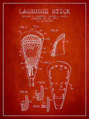 Lacrosse Stick Patent From 1977 -  Red Art Print by Aged Pixel