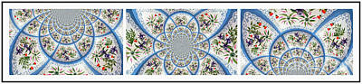 Doily Digital Art - Lacy Doilies - Abstract - Triptych by Barbara Griffin