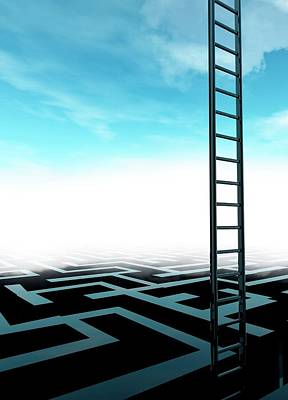 Ladder And Maze Art Print by Victor Habbick Visions/science Photo Library