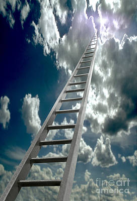 Ladder Ascending Into The Clouds Art Print by Mike Agliolo