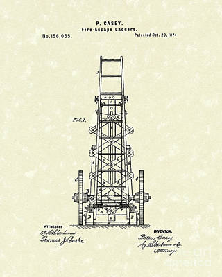 Escape Drawing - Ladders 1874 Patent Art by Prior Art Design
