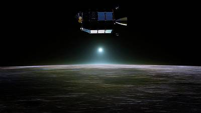Space Exploration Photograph - Ladee Spacecraft Over The Moon by Nasa Ames/dana Berry