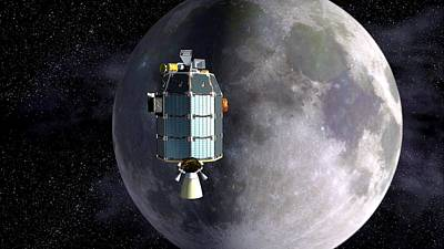 Space Exploration Photograph - Ladee Spacecraft Over The Moon by Nasa
