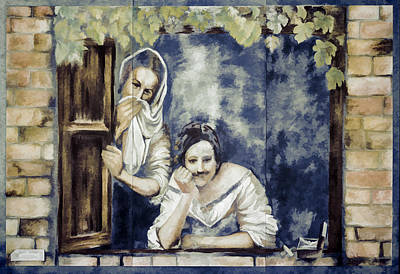 Digital Art - Ladies At A Window by Photographic Art by Russel Ray Photos