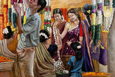 Ladies At The Flower Market In India Art Print by Dominique Amendola