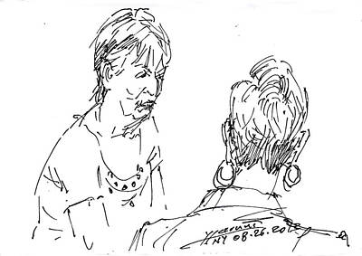 Chatting Drawing - Ladies Chatting by Ylli Haruni