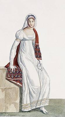 Red Line Drawing - Ladies Day Dress, 1811 by Pierre de La Mesangere