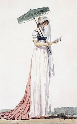 Fashion Drawing - Ladies Elegant Summer Dress by English School