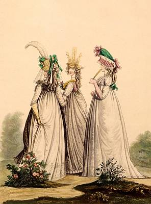 Worn Drawing - Ladies In Day Wear - Modes Anglaises by French School