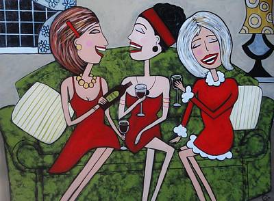 Ladies In Red On The Lounge Art Print