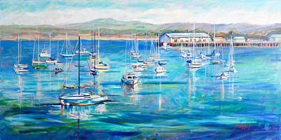 Monterey Wharf Painting - Ladies In Waiting Monterey Bay by Marie Massey