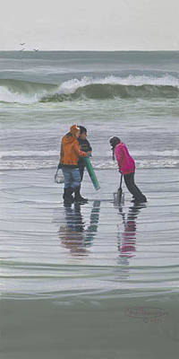 Razor Clams Wall Art - Painting - Ladies Looking For Clams by Carol Thompson
