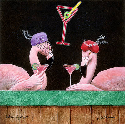 Flamingos Painting - Ladies Night Out... by Will Bullas
