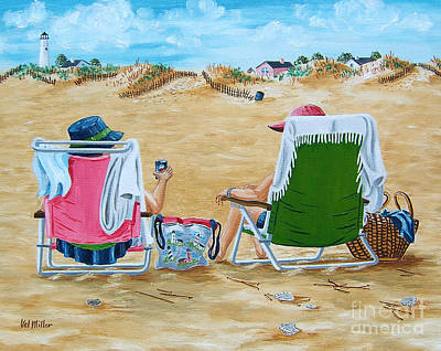 Ladies On The Beach Art Print by Val Miller