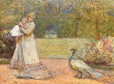 Peacock Bird Painting - Lady And A Peacock by George John Pinwell
