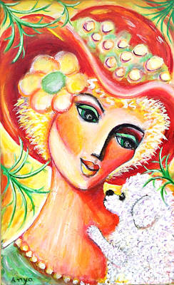 Art Print featuring the painting Lady And Bijon by Anya Heller