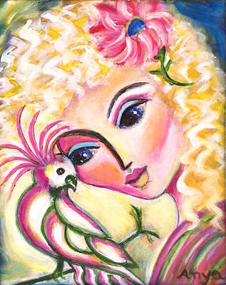 Art Print featuring the painting Lady And Cockatiel by Anya Heller