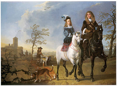 Women On Horses Painting - Lady And Gentleman On Horseback by Aelbert Cuyp