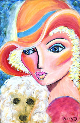 Lady And Poodle Art Print