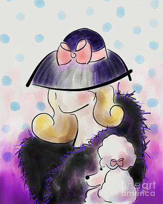 Mixed Media - Lady And Poodle by Catia Lee