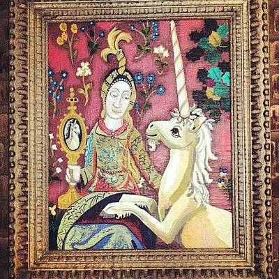 Lady And The Unicorn La Vue At Cafe Art Print