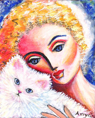 Art Print featuring the painting Lady And White Persian Cat by Anya Heller