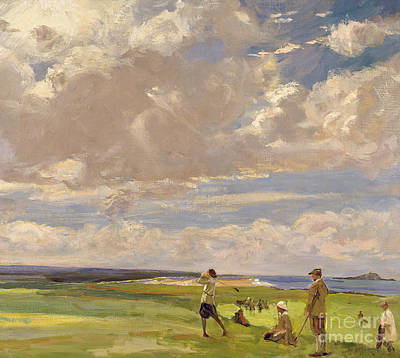 Girl In Landscape Painting - Lady Astor Playing Golf At North Berwick by Sir John Lavery