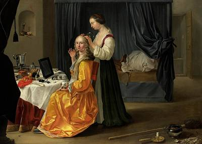 Silk Painting - Lady At Her Toilet by Netherlandish School