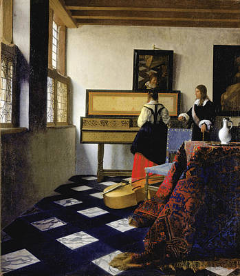 Johannes Vermeer Wall Art - Painting - Lady At The Virginal With A Gentleman . The Music Lesson  by Johannes Vermeer
