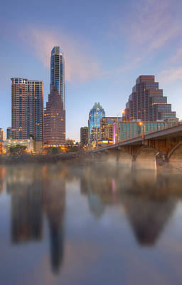 Animals Royalty-Free and Rights-Managed Images - Lady Bird Lake Fog and the Austin Skyline 1 by Rob Greebon