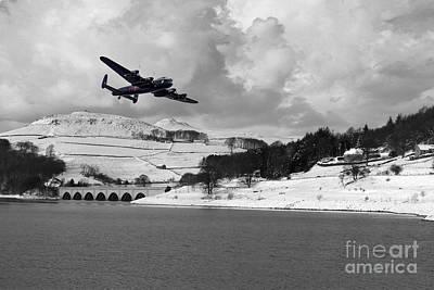 Derwent Dam Digital Art - Lady Bower Snowfall  by J Biggadike