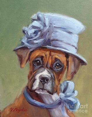 Painting - Lady Boxer With Blue Hat by Viktoria K Majestic