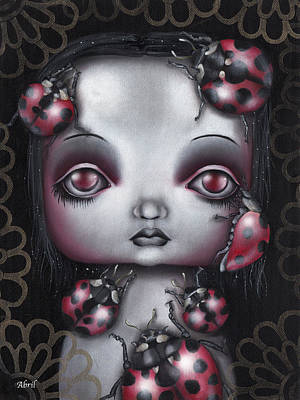 Pop Surrealism Painting - Lady Bug Girl by Abril Andrade Griffith