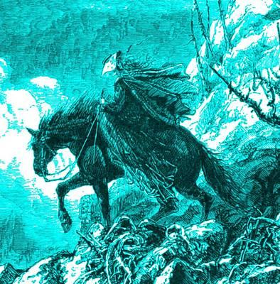 Maine Mountains Digital Art - Lady Descending Mount Washington On Horseback 1872 Engraving Detail by Antique Engravings