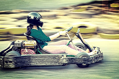 Go Kart Wall Art - Photograph - Lady Driver Zooming Around Race Track by Kantilal Patel